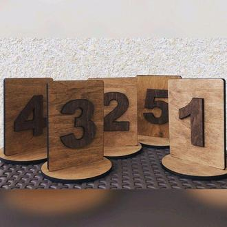 Номерки на стол из дерева для гостей
