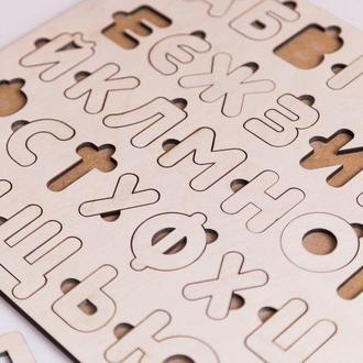 Азбука из дерева (алфавит), сортер, пазл, вкладыши с доской для мела!