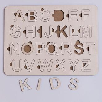 Деревянная азбука на английском языке. сортер на английском, буквы вкладыши.