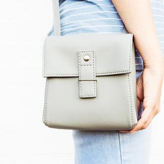 """Серая сумочка через плечо """"Ponika"""". Маленькая сумка из эко кожи."""