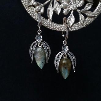 Серебряные серьги с перевернутыми каплями лабрадора