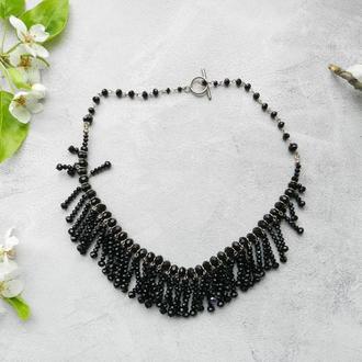 Чёрное колье , чёрное хрустальное ожерелье