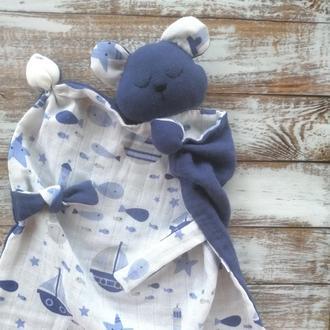 Муслиновый комфортер МИШКА 🐻 для новорожденного