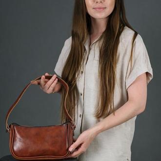 Шкіряна жіноча сумочка Джулс, шкіра італійський краст, колір вишня