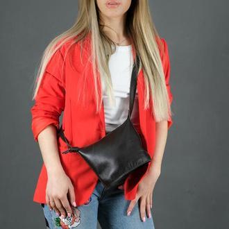 Кожаная женская сумочка Эллис, гладкая кожа, цвет шоколад