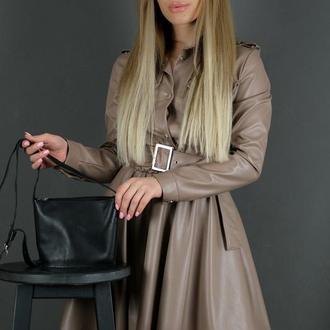 Кожаная женская сумочка Эллис, гладкая кожа, цвет черный