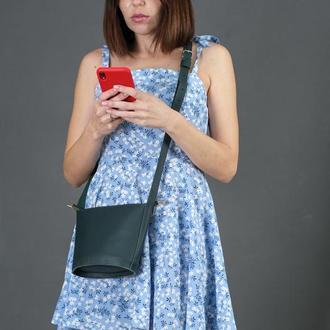 Шкіряна жіноча сумочка Елліс, шкіра Grand, колір зелений