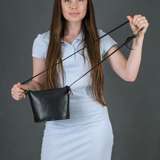 Шкіряна жіноча сумочка Елліс, шкіра італійський краст, колір чорний