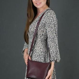 Кожаная женская сумочка Эллис, кожа итальянский краст, цвет бордо