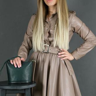 Кожаная женская сумочка Эллис, кожа итальянский краст, цвет зеленый