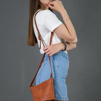Кожаная женская сумочка Эллис, винтажная кожа, цвет  коньяк