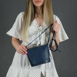Кожаная женская сумочка Эллис, кожа итальянский краст, цвет синий