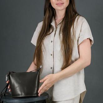 Кожаная женская сумочка Эллис, кожа итальянский краст, цвет  кофе