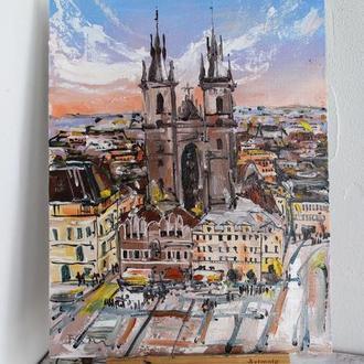 Картина маслом на полотні Прага, міст Прага, картина маслом Прага