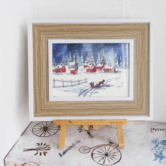Картина в рамі акварель зимовий пейзаж Різдво ніч