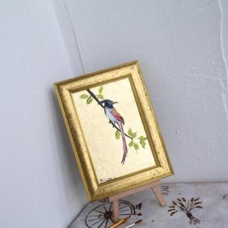 Картина маслом птица с золотой поталью