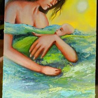Океан материнской любви, холст на картоне, размер 20х40см