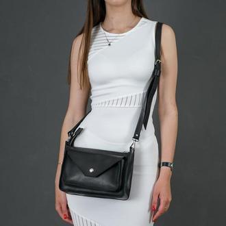 """Кожаная женская сумочка """"Уголок"""", кожа итальянский краст, цвет черный"""