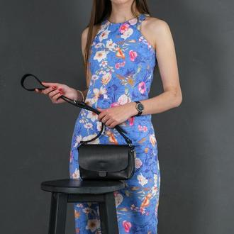 Кожаная женская сумочка Итальяночка, кожа итальянский краст, цвет черный