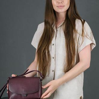 Кожаная женская сумочка Итальяночка, кожа итальянский краст, цвет бордо