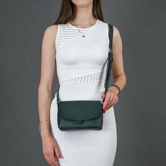 Кожаная женская сумочка Итальяночка, кожа итальянский краст, цвет зеленый