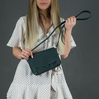 Кожаная женская сумочка Итальяночка, кожа Grand, цвет зеленый