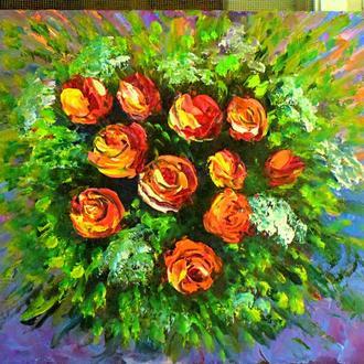 Ах эти розы,оргалит, размер 24х30см