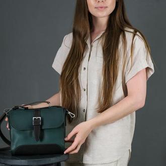 Женская сумочка Марта, Кожа Итальянский краст, цвет зеленый