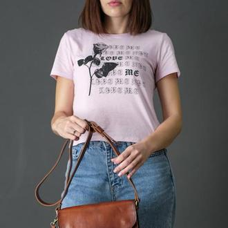 """Кожаная женская сумочка """"Берти"""", кожа итальянский краст, цвет вишня"""