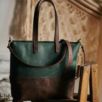 """Дизайнерская сумка шопер из кожи """"крейзи хорс"""""""