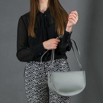 Кожаная женская сумочка Фуксия, кожа Grand, цвет серый