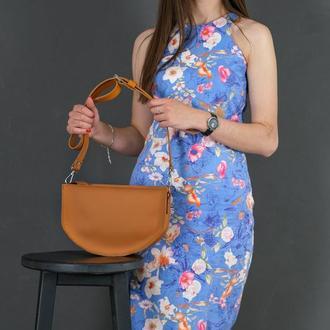 Кожаная женская сумочка Фуксия, кожа Grand, цвет янтарь