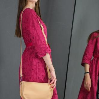 Кожаная женская сумочка Фуксия, кожа Grand, цвет бежевый
