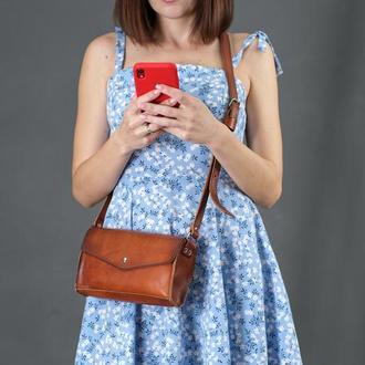 Кожаная женская сумочка Ромбик, кожа итальянский краст, цвет вишня