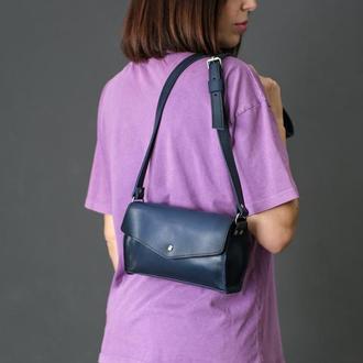 Кожаная женская сумочка Ромбик, кожа итальянский краст, цвет синий
