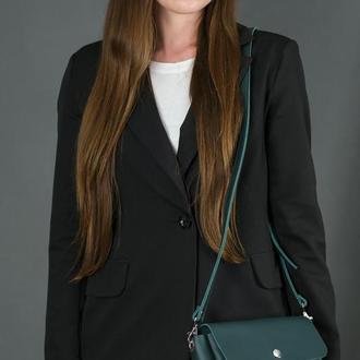 """Шкіряна жіноча сумочка """"Макарун ХL"""", шкіра Grand, колір зелений"""