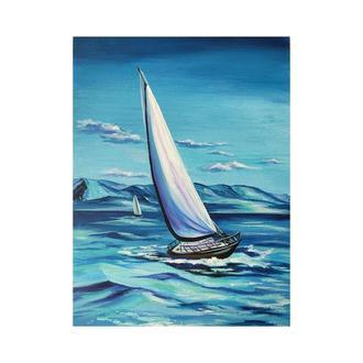 """Картина акрилом """"Вітрильник"""" 30х40 см, Морський пейзаж"""
