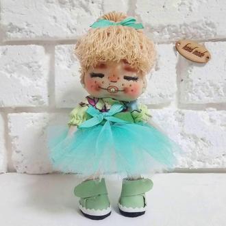 Авторская кукла Веселушка Текстильная куколка с нарисованным лицом