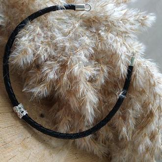 Серебряный кожаный браслет с подвеской ′Туннель′