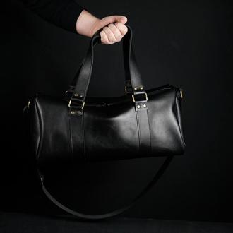 """Сумка travel """"модель №80"""", кожа итальянский краст, цвет черный"""