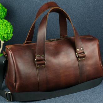 """Сумка travel """"модель №80"""", кожа итальянский краст, цвет вишня"""