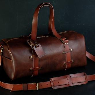 """Сумка travel """"модель №81"""". кожа итальянский краст, цвет вишня"""