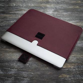Фиолетовый бордовый кожаный чехол на планшет IPad ноутбук MacBook