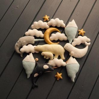 Детский мобиль Морской мобиль Мобиль с мишкой Мобиль с китами Мобиль с луной С облаками и звёздами