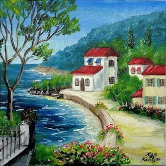 Картина маслом Італія, Міський пейзаж, Красивий пейзаж, Картина на подарунок