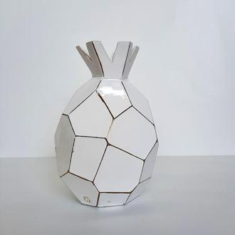 Керамическая ваза для цветов. Белая ваза. Керамический декор ручной работы. Керамическая ваза гранат