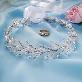 Изысканный свадебный веночек на голову для невесты / веточка для волос / веночек из бусин