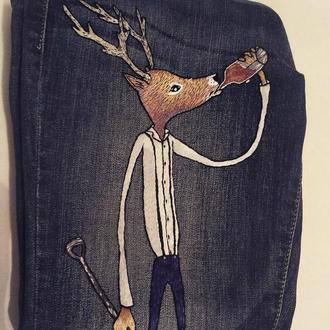 Джинсы с вышивкой вышивка вышиванка