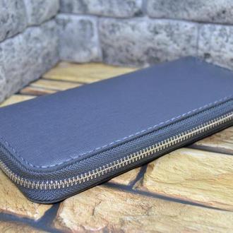 Стильный и удобный кожаный кошелек на молнии K104-grey сафьяно