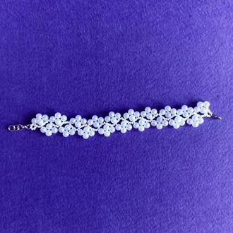 Белый браслет из чешского бисера Купить красивый браслет Белое украшение